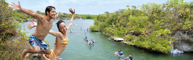 Free jumping on Xel-Ha
